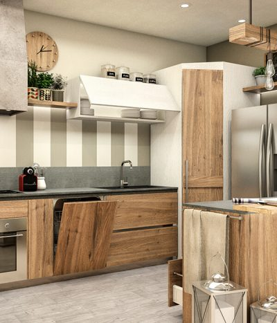 Render cucina 3D rovere massello MG Production Fossano Cuneo